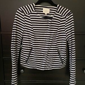 Ann Taylor Loft White and Navy Striped Jacket